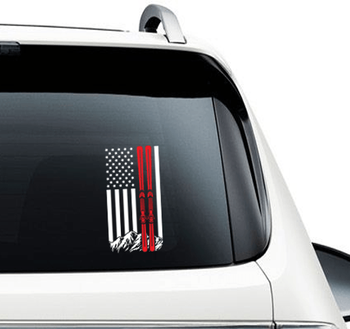 USA Ski Flag Car Sticker - Powderaddicts