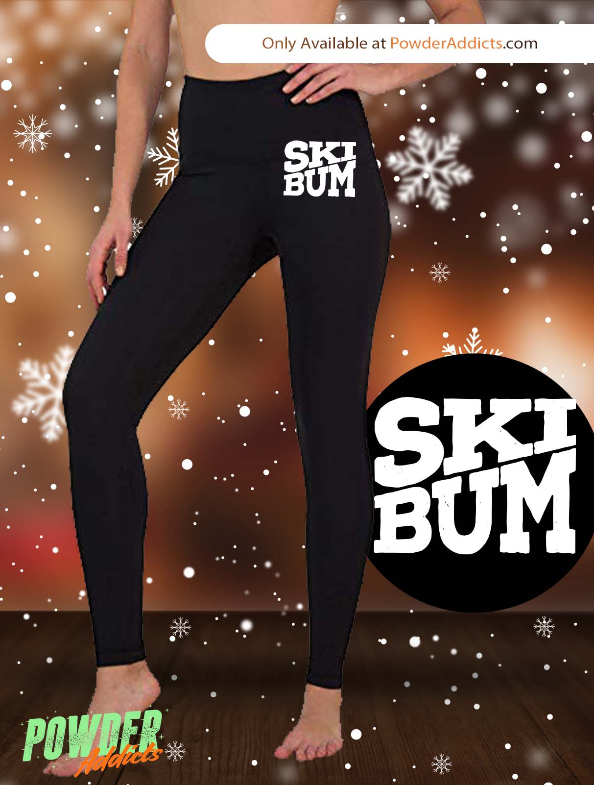 Ski Bum Women's Embroidered Leggings - Powderaddicts