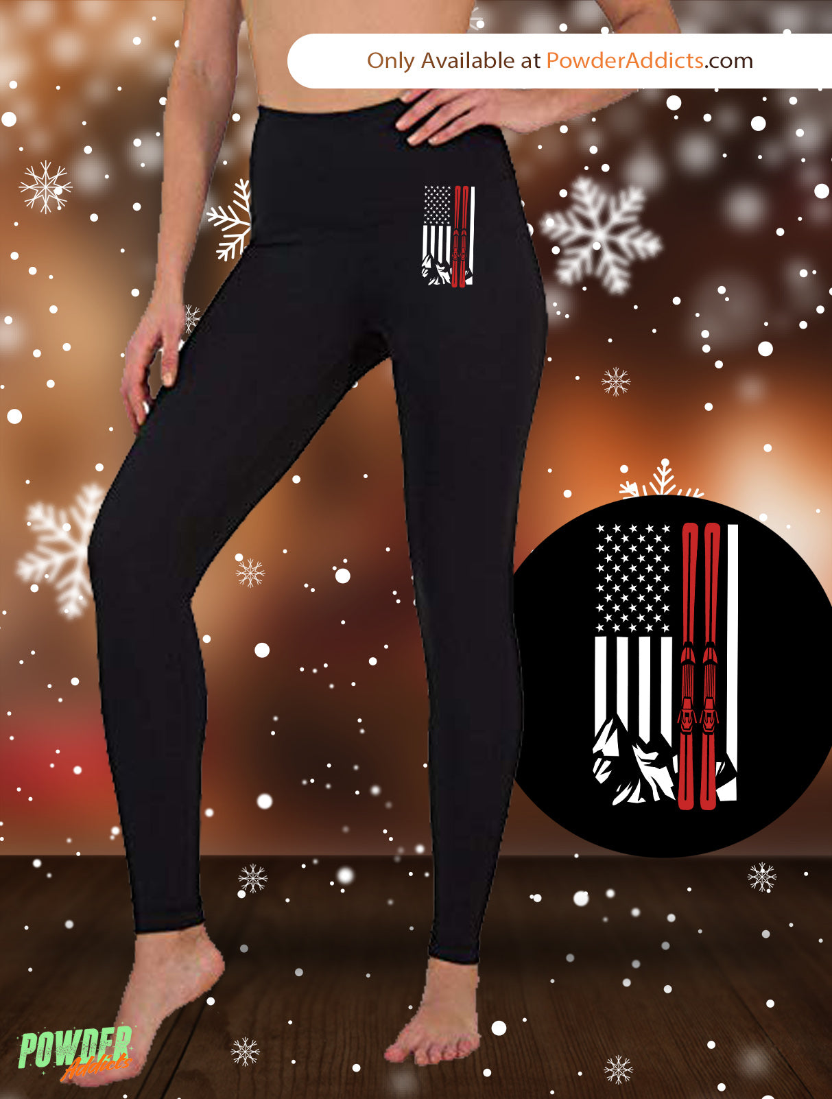 USA Ski Flag Thin Red Line Women's Embroidered Leggings - Powderaddicts