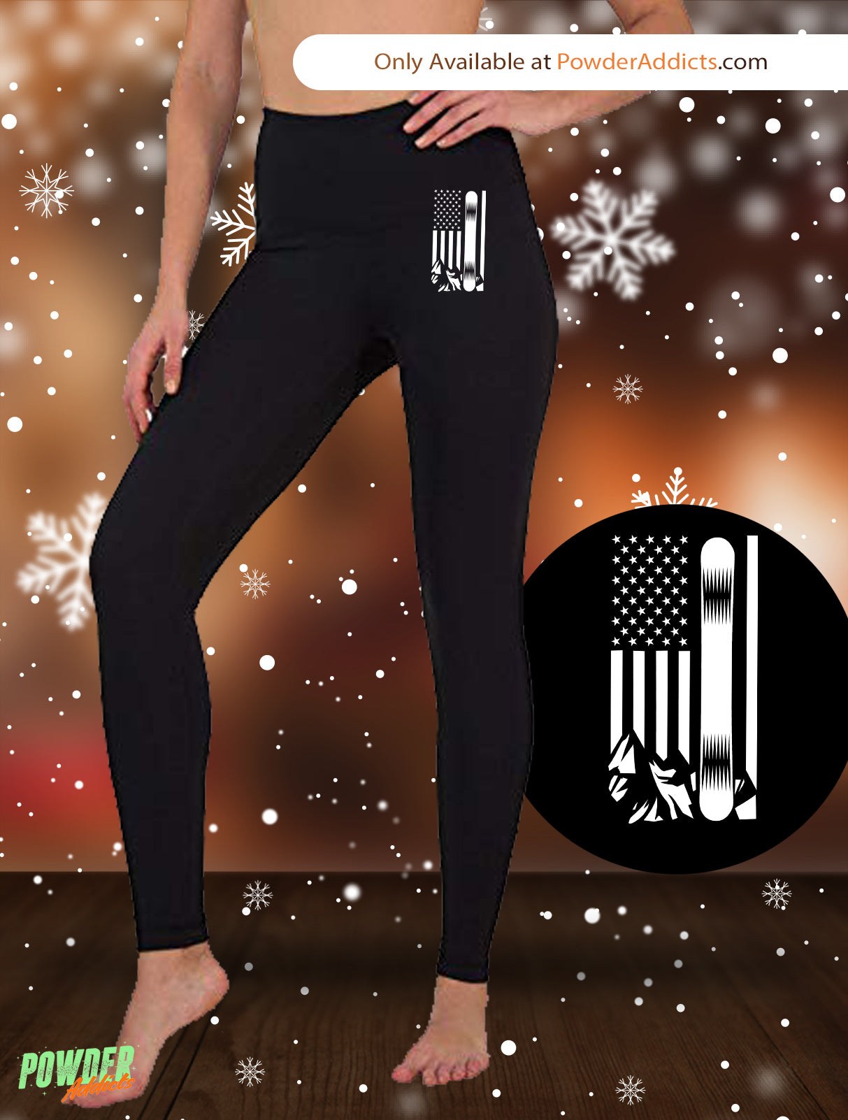 USA Snowboard Flag All White Women's Embroidered Leggings - Powderaddicts