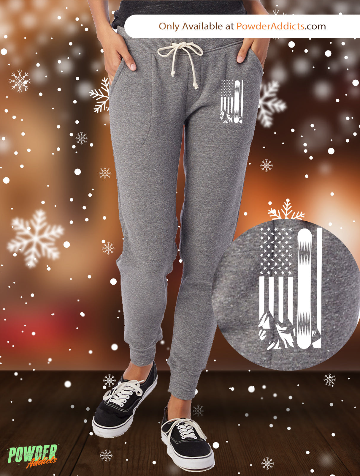 USA Snowboard Flag All White Women's Adult Fleece Jogger - Powderaddicts