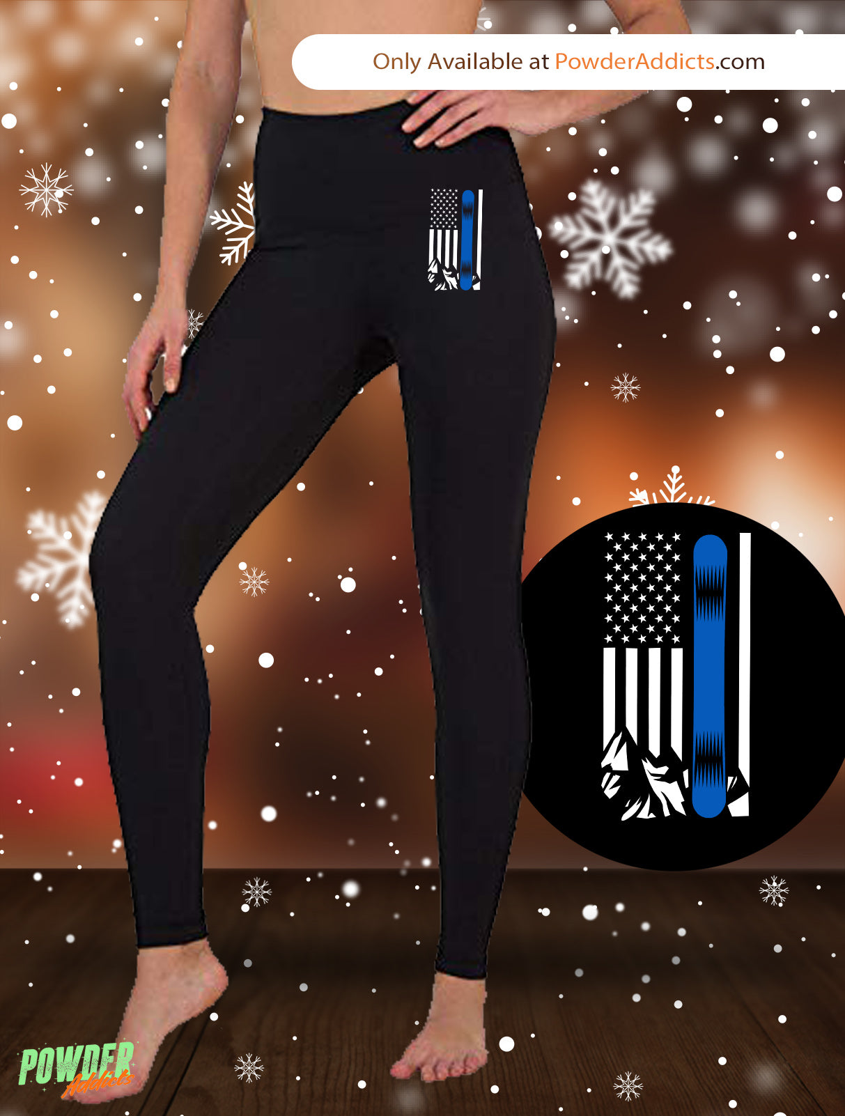 USA Snowboard Flag Thin Blue Line Women's Embroidered Leggings - Powderaddicts