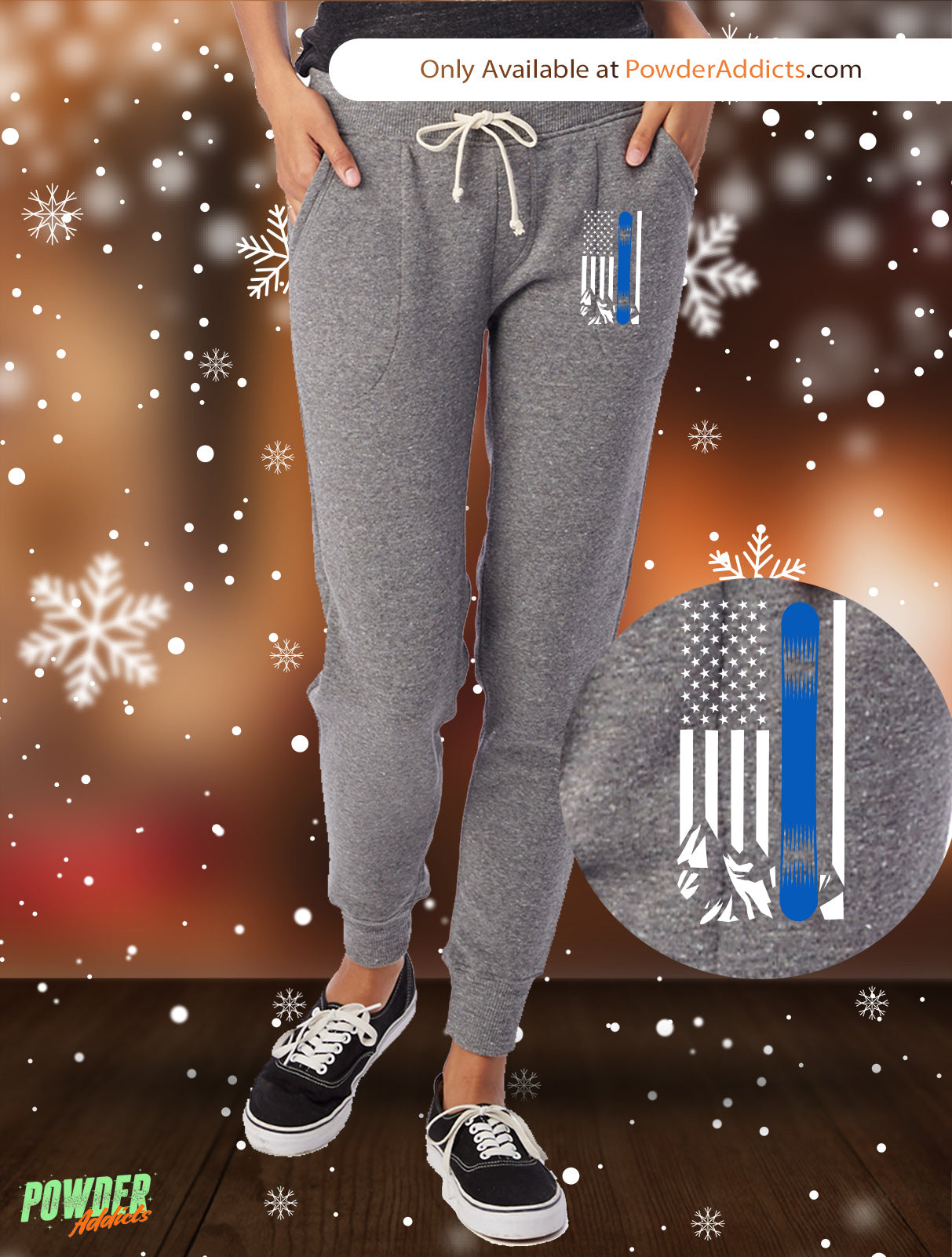 USA Snowboard Flag Thin Blue Line Women's Adult Fleece Jogger - Powderaddicts