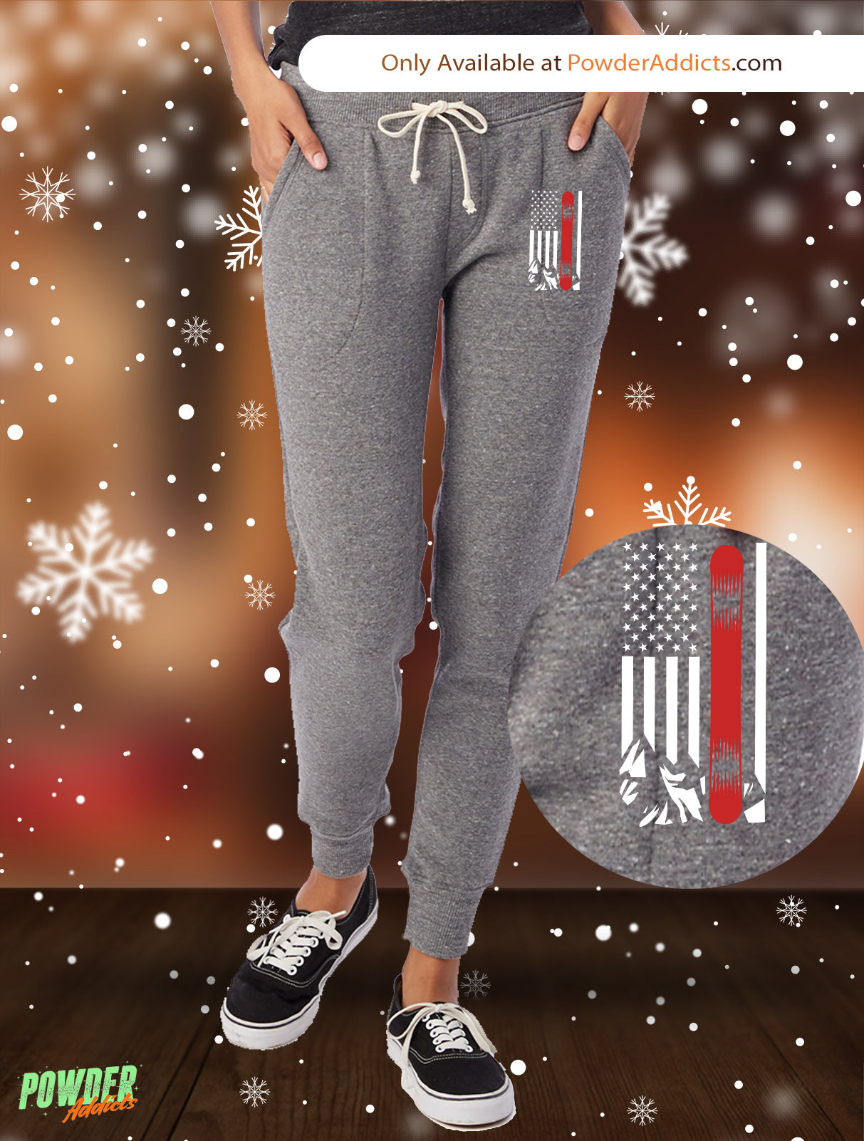 USA Snowboard Flag Thin Red Line Women's Adult Fleece Jogger - Powderaddicts