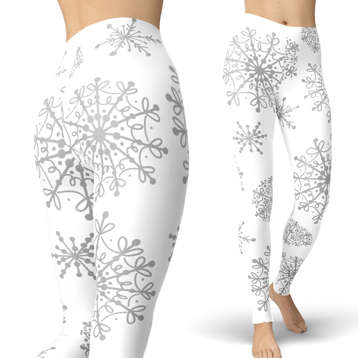 White and Gray Snow Leggings - Powderaddicts