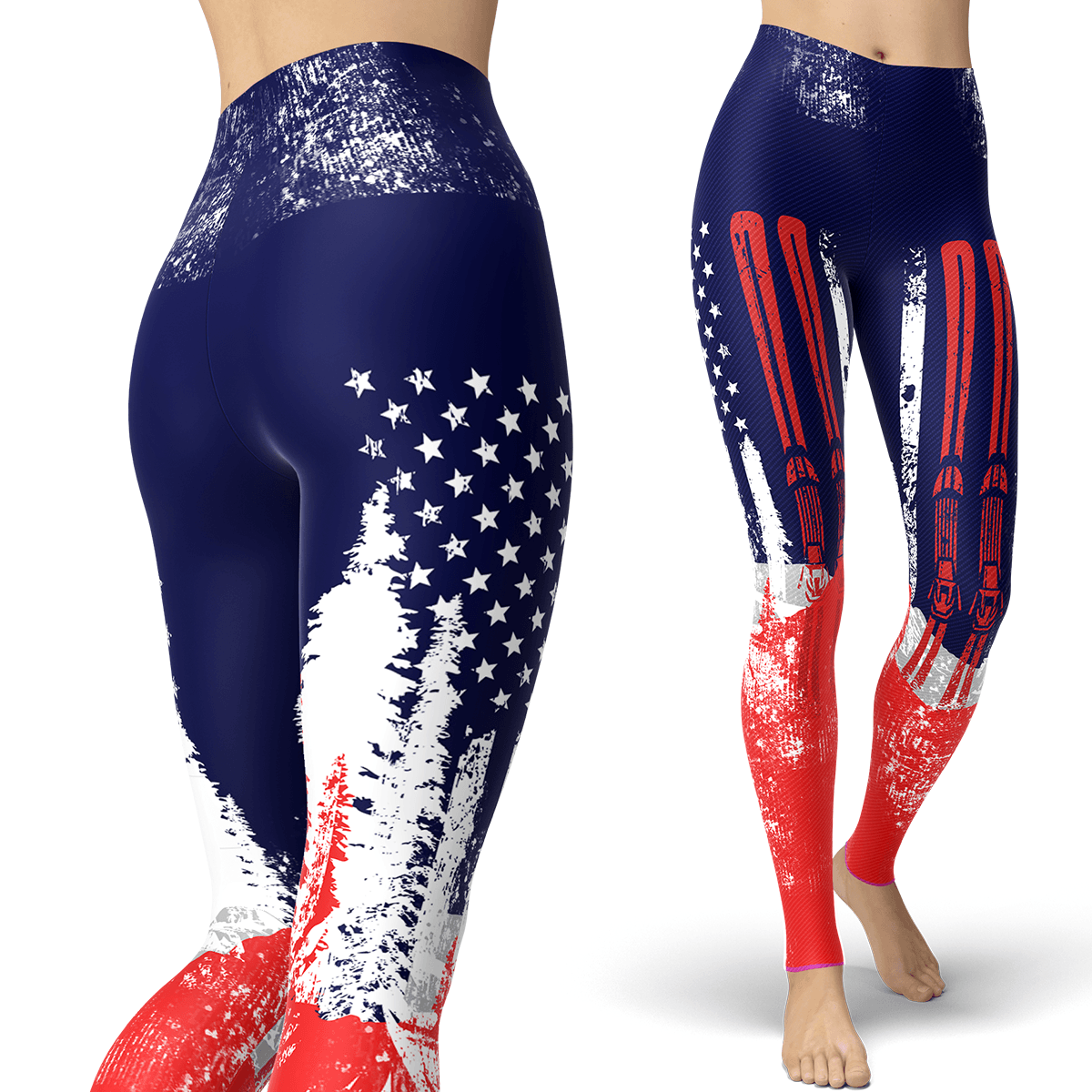 USA Ski Flag Red Leggings - Powderaddicts