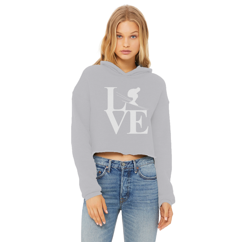 Love Skiing Ladies Cropped Raw Edge Hoodie - Powderaddicts