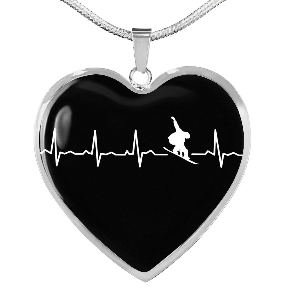 Snowboard Is My Heartbeat Pendant Necklace - Powderaddicts