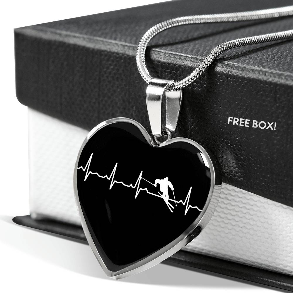 Ski Is My Heartbeat Pendant Necklace - Powderaddicts