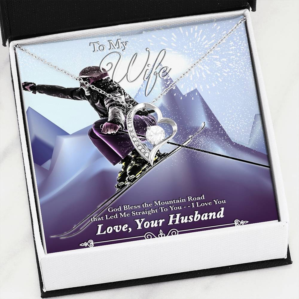 God Bless The Mountain Road That Led Me Straight To You - White Gold Heart Pendant | Ski Jump - Powderaddicts
