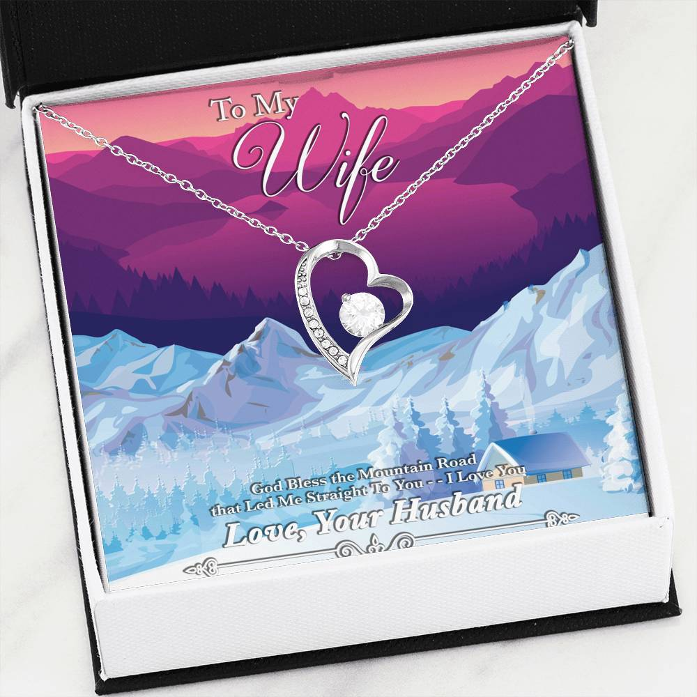God Bless The Mountain Road That Led Me Straight To You - Gold Heart Pendant | Mountain Sunset - Powderaddicts