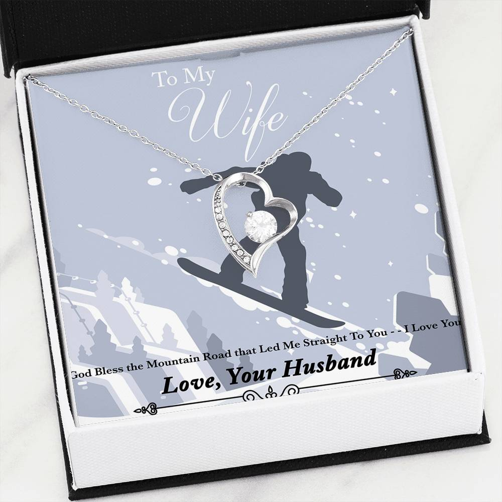 God Bless The Mountain Road That Led Me Straight To You - Gold Pendant Necklace | Snowboard Jump - Powderaddicts