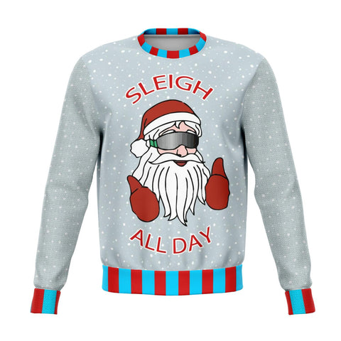 Sleigh All Day Cool Santa Ugly Christmas Sweater - Powderaddicts