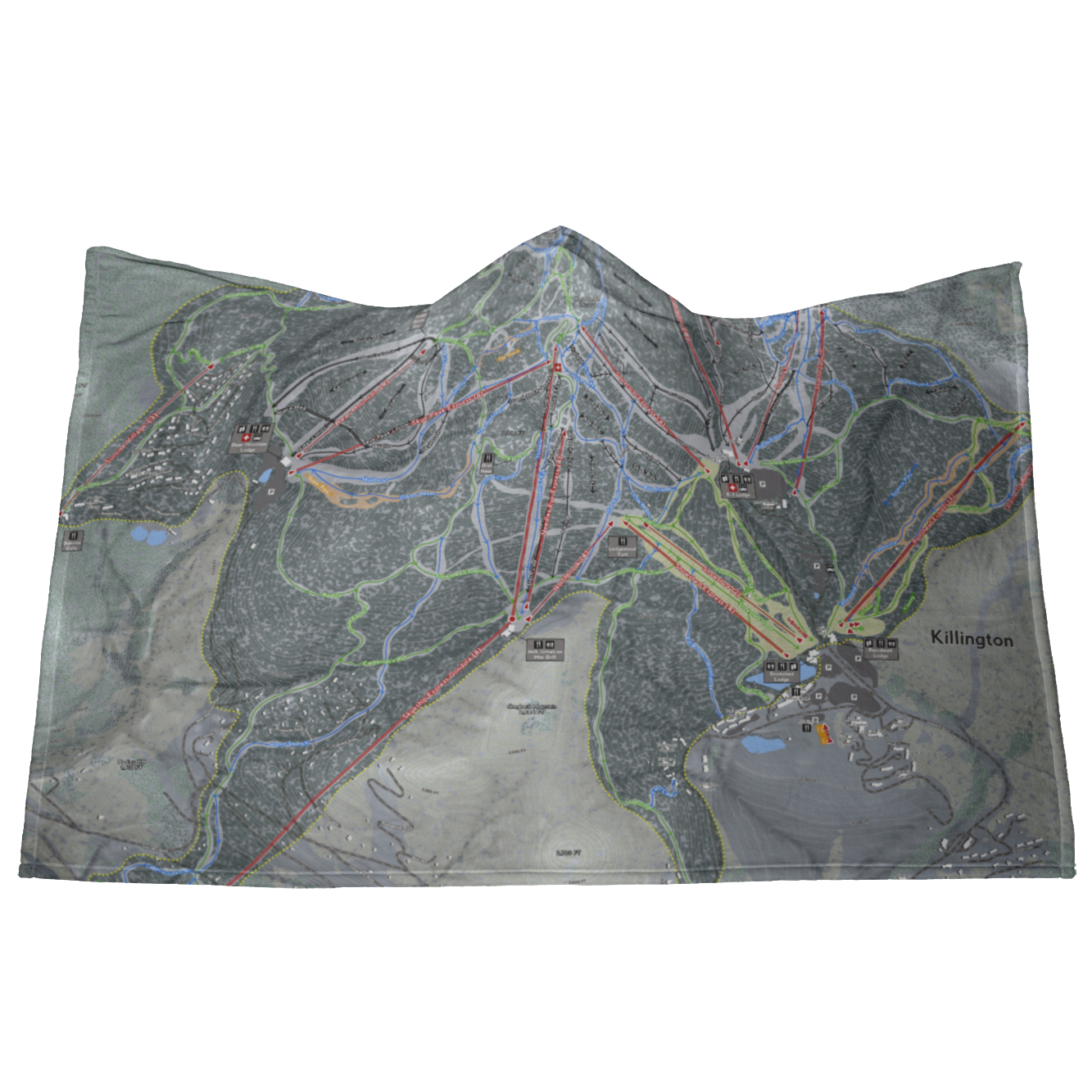 Killington, Vermont Ski Resort Map - Hooded Blanket