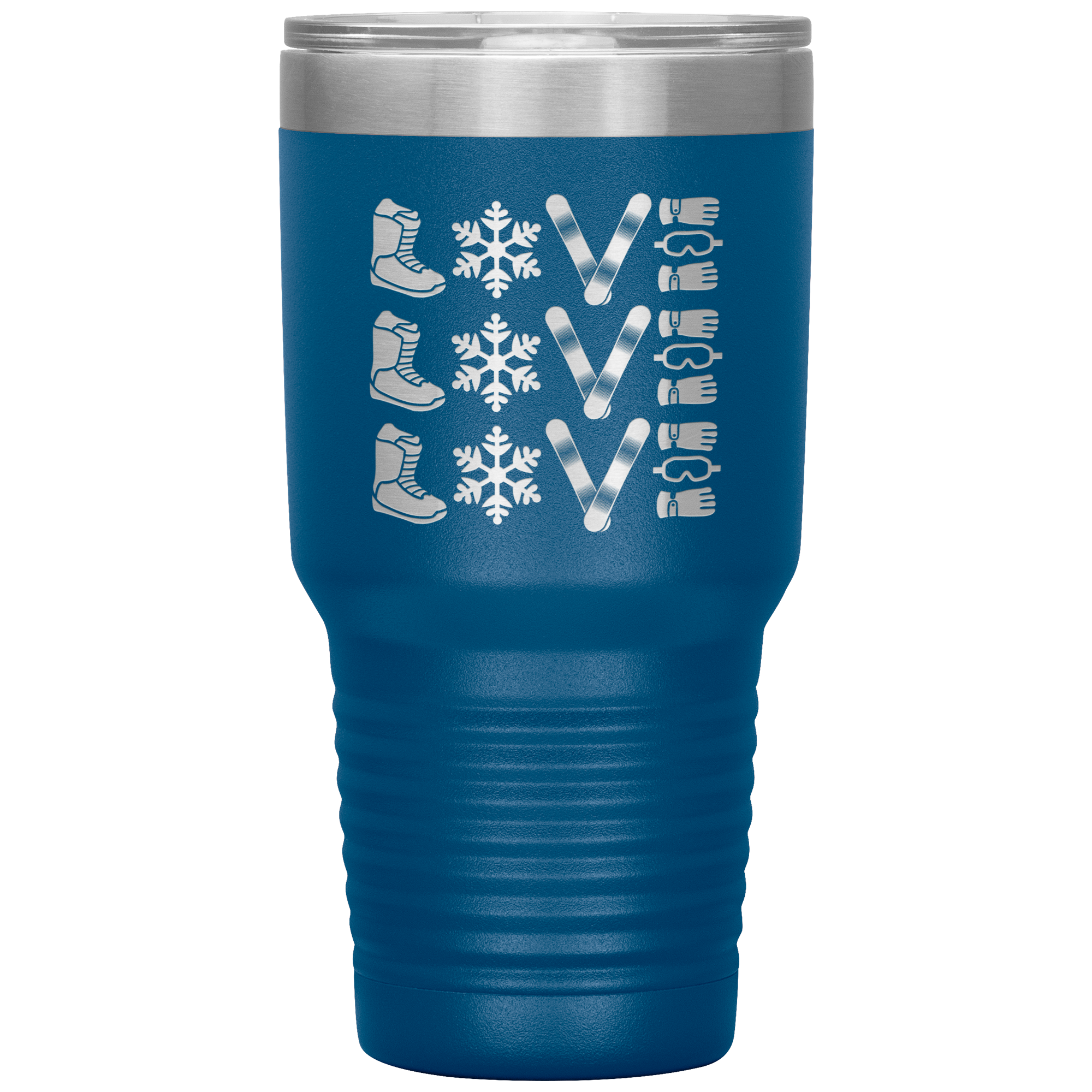 Triple LOVE Snowboard 30oz Laser Etched Tumbler - Powderaddicts