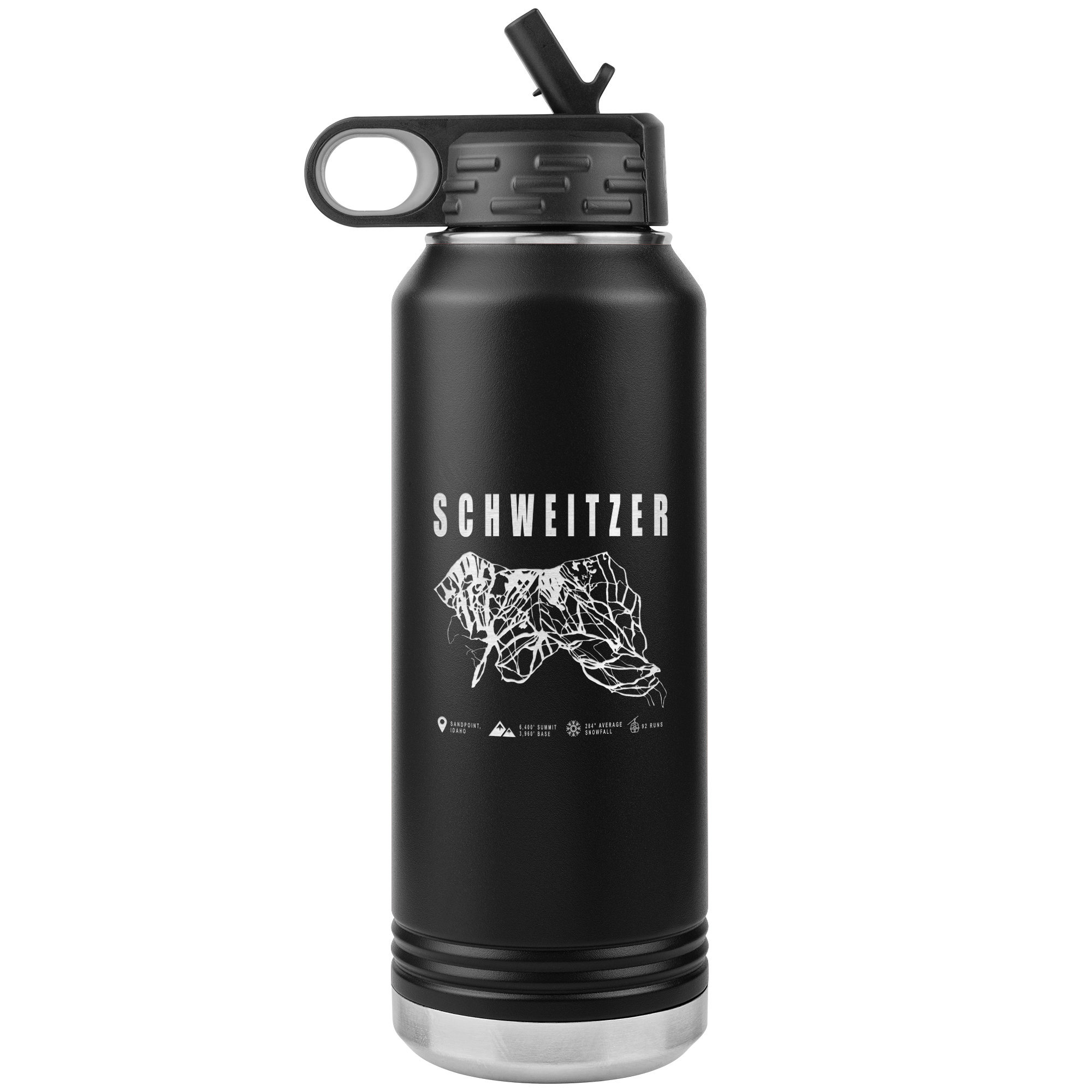 Schweitzer Idaho Ski-Resort Map 32oz Water Bottle Tumbler