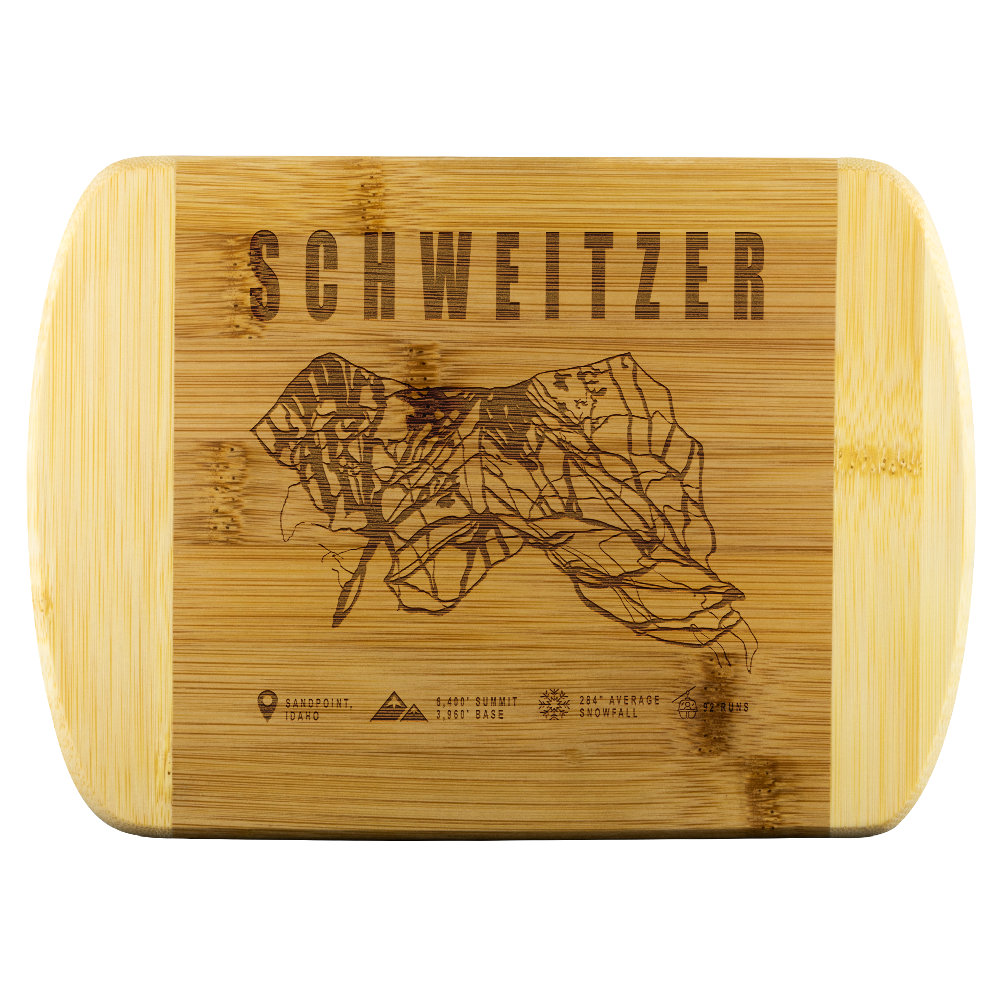 Schweitzer Idaho Ski-Resort Map Bamboo Cutting Board Round Edge