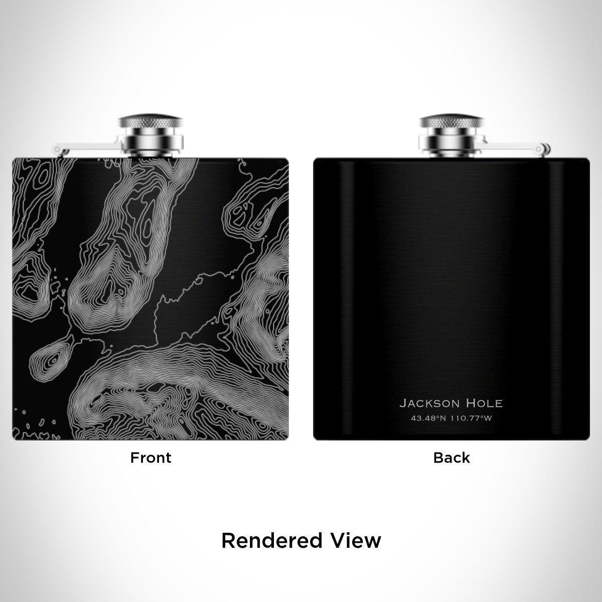 Jackson Hole - Wyoming Engraved Topographic Map Hip Flask in Matte Black
