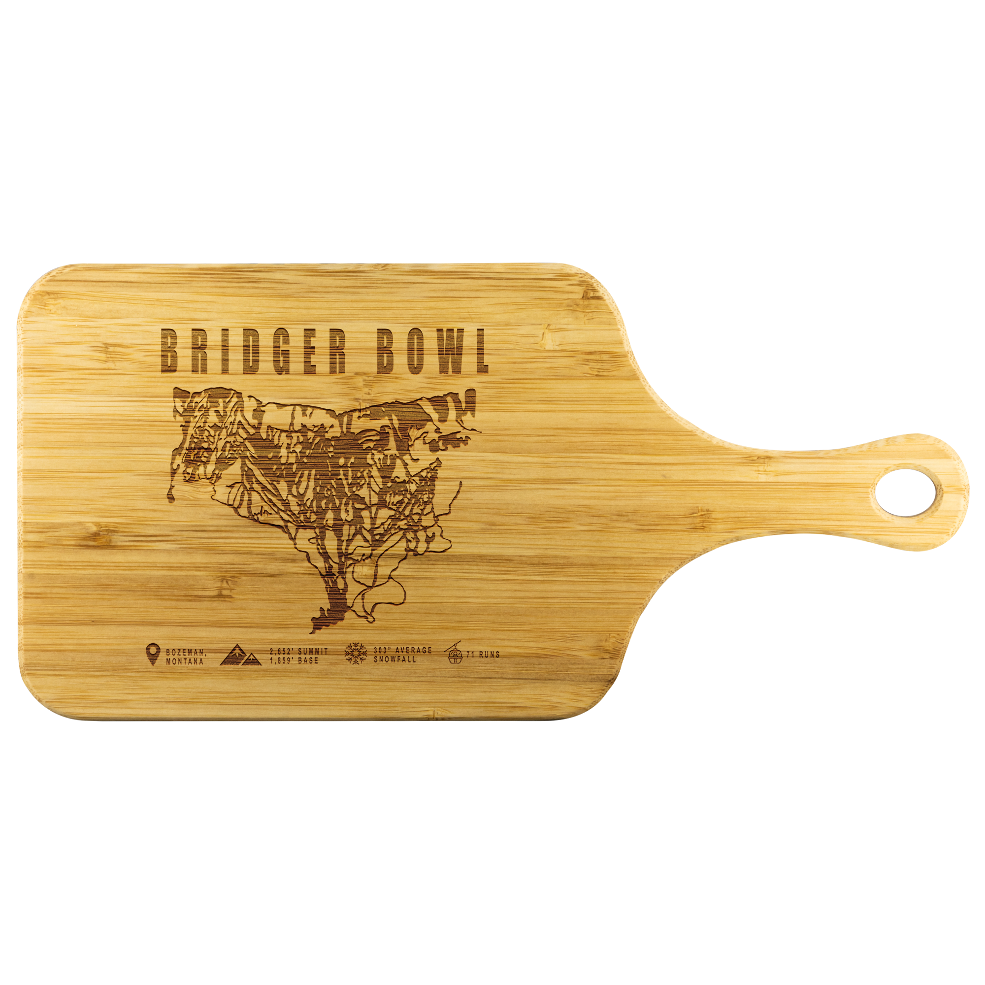 Bridger Bowl Montana Ski-Resort Map Bamboo Cutting Board With Handle
