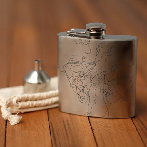 Lost Trail - Ski Area Engraved Map Hip Flask