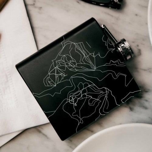 Lost Trail - Ski Area Engraved Map Hip Flask in Matte Black
