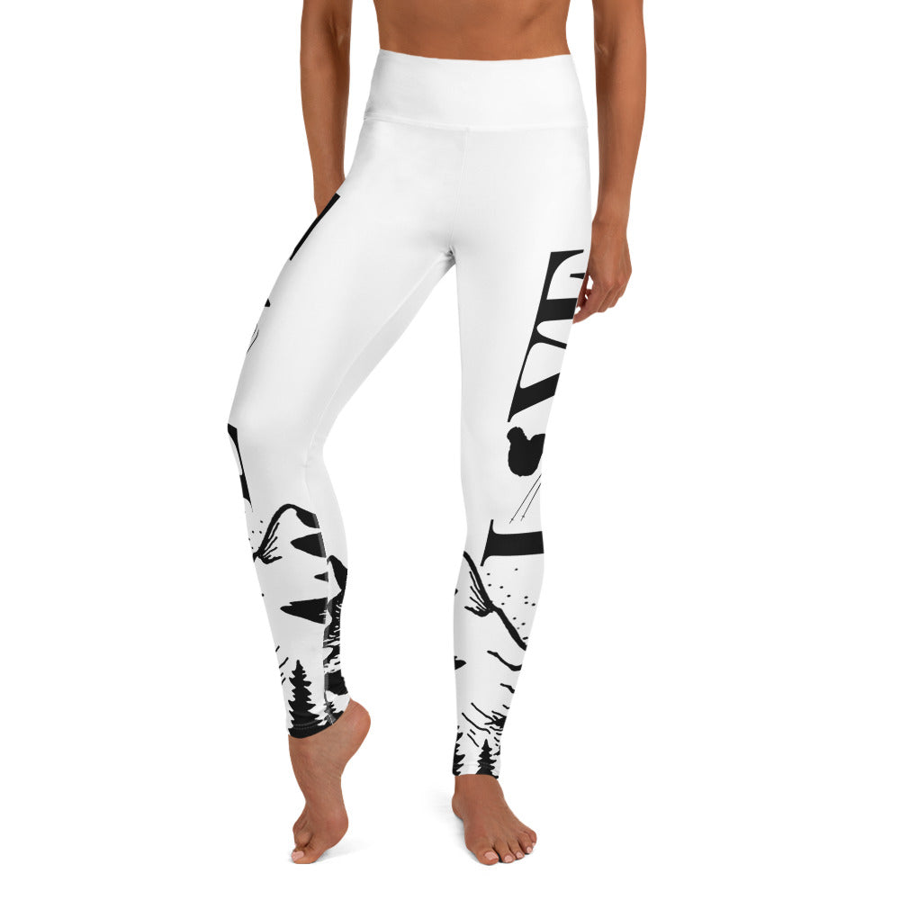 Love Ski White Yoga Leggings - Powderaddicts