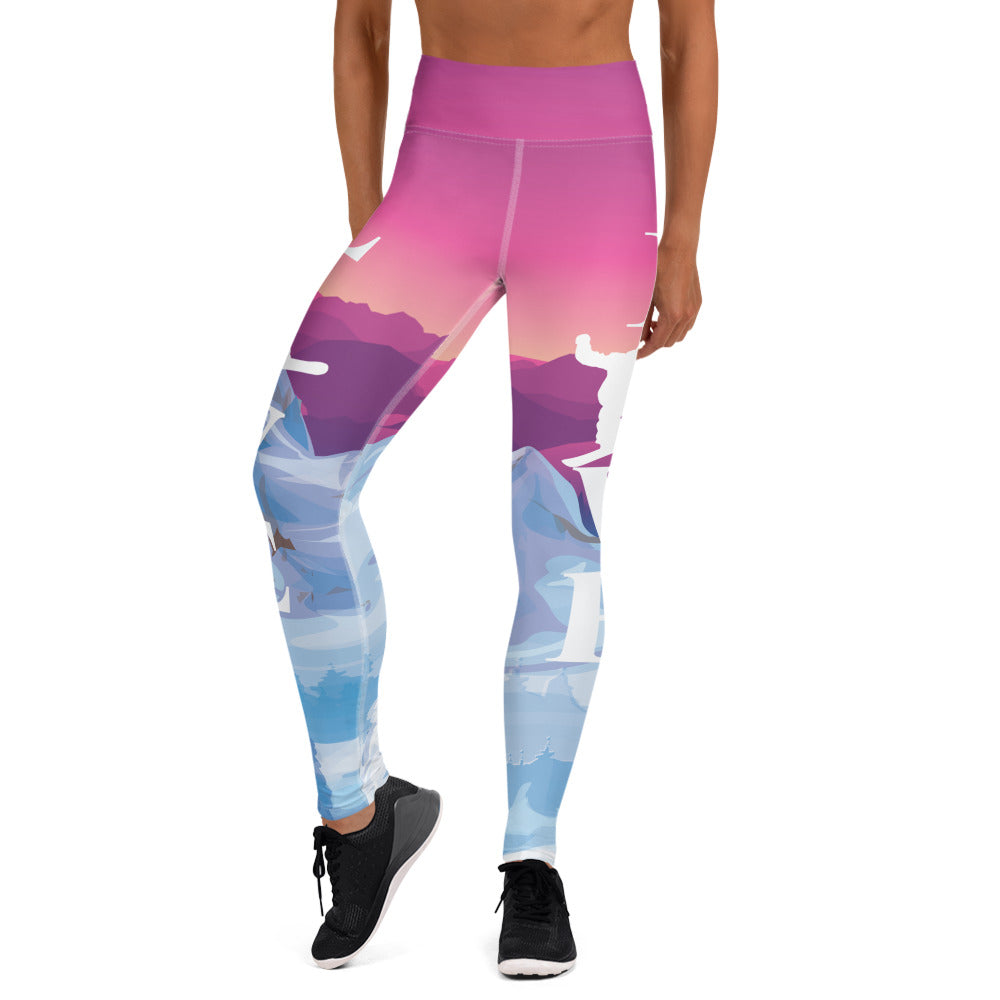 Love Snowboard Even At Sunset Yoga Leggings - Powderaddicts
