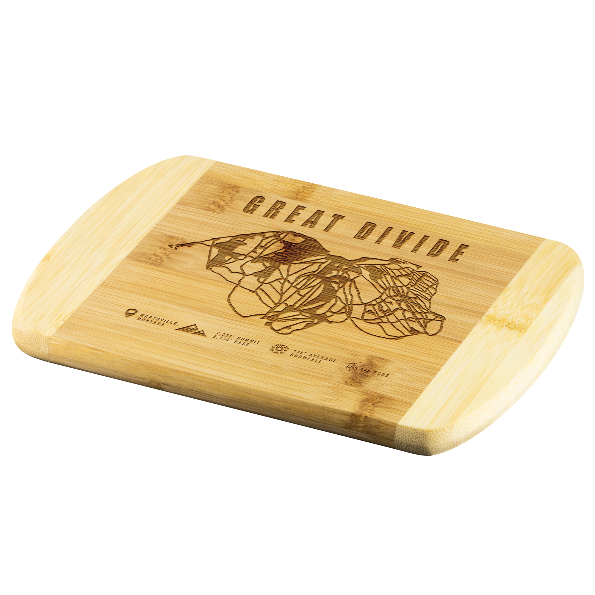 Great Divide Montana Ski-Resort Map Bamboo Cutting Board Round Edge