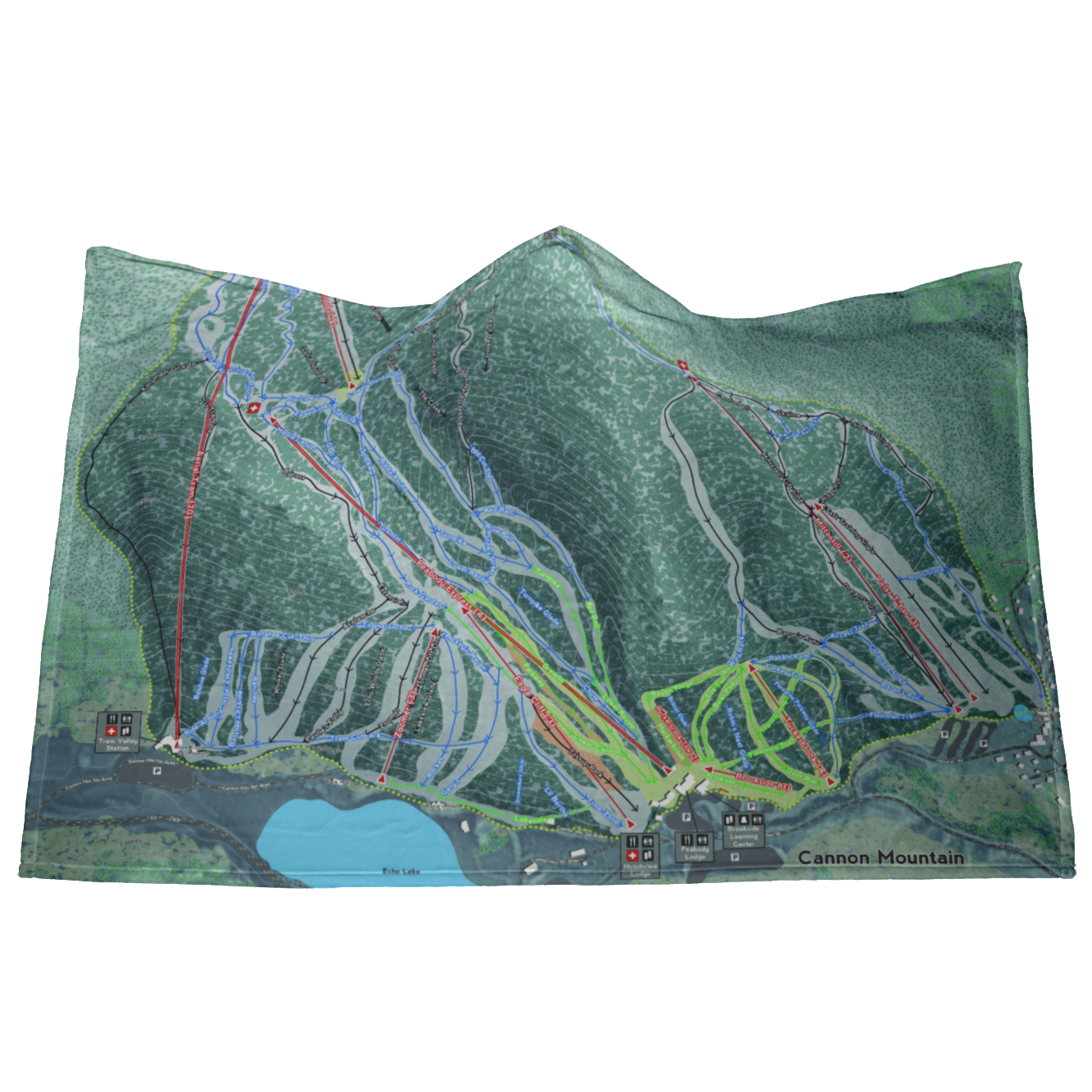 Cannon Mountain, New Hampshire Ski Resort Map - Hooded Blanket
