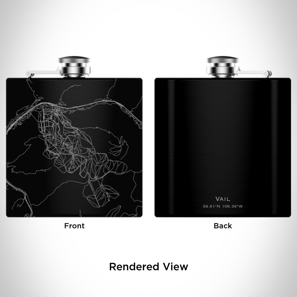 Vail - Colorado Map Hip Flask in Matte Black