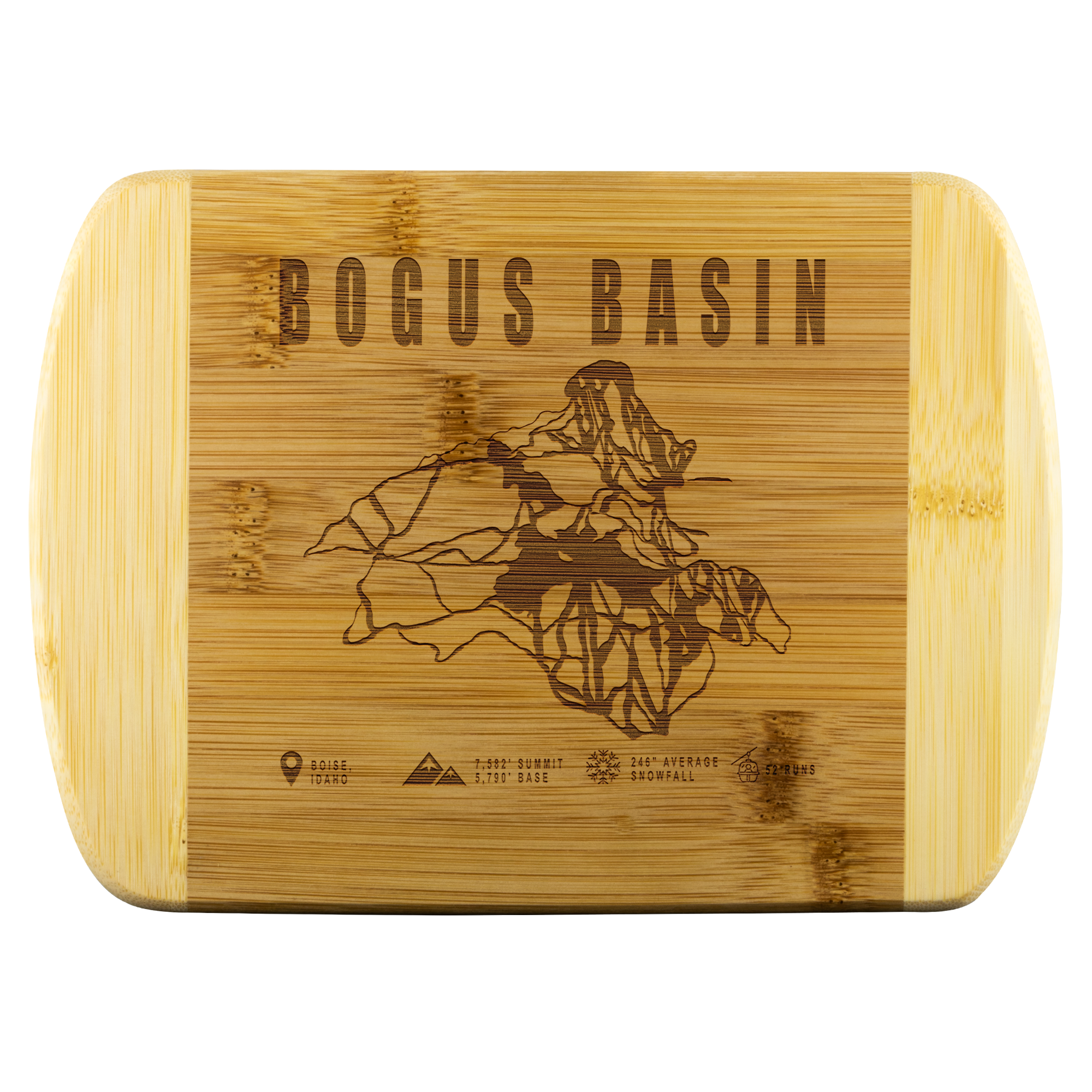 Bogus Basin Idaho Ski-Resort Map Bamboo Cutting Board Round Edge