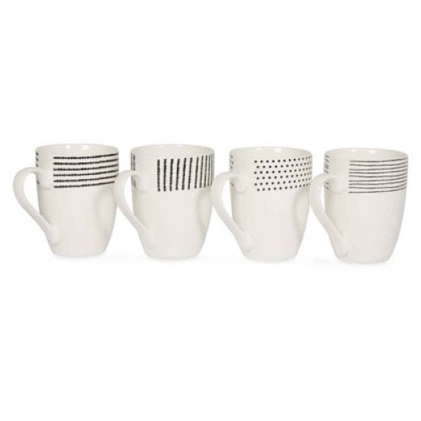 Fine Bone China Black and White Set of 4 Coffee Mugs – Hello