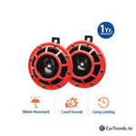 myTVS TH-85 Red Grilll Supertone Car/Bike Horn Set of 2-Red