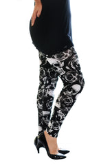 7059 Black Skull and Roses Leggings