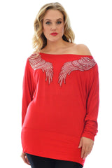 1238 Red Angel Wing Rhinestone Slash Neck