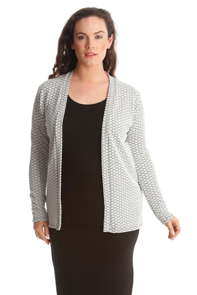 3166 White Criss Cross Textured Cardigan