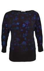 1271 Royal Blue Glitter Floral Batwing Top