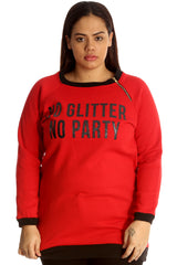 3124 Navy Blue No Glitter No Party Print Zip Sweatshirt