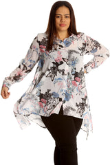 Floral & Butterfly Print A-Line Chiffon Shirt