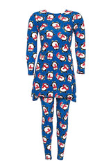2190 Blue 2 In 1 Penguin Print Top Leggings Set