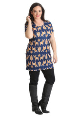1429 Blue Gingebread Xmas Tunic