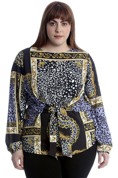 Abstract Print Front Tie Top