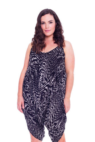 8021 Black Animal Print Jump Suit