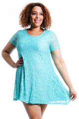 2147 Mint Floral Lace Tunic Dress