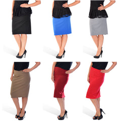 5005 Mocha Plain Ponte Pencil Skirt