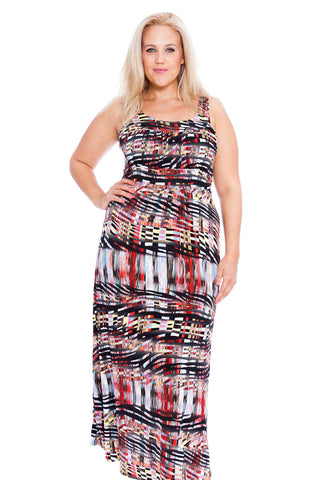 Abstract Artsy Print Maxi Dress