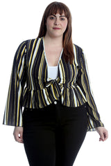 Stripes Print Frill Shrug
