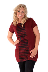 2025 Wine Dogtooth Buckle Dress