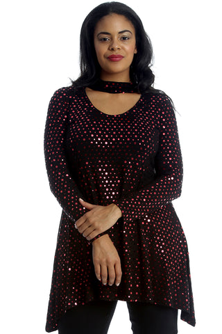 Choker Neck Dot Foil Swing Top