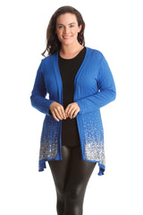 3173 Royal Blue Glitter Sequin Cardigan